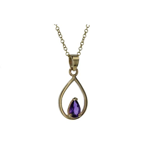 Gold Pendants 9ct Yellow Gold Pear Shaped Amethyst Pendant