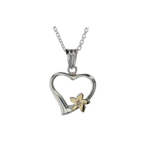 Burren Collection Sterling Silver Burren Heart with 9ct Yellow Gold Flower