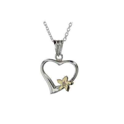 Burren Silver Pendants Sterling Silver Burren Heart with 9ct Yellow Gold Flower