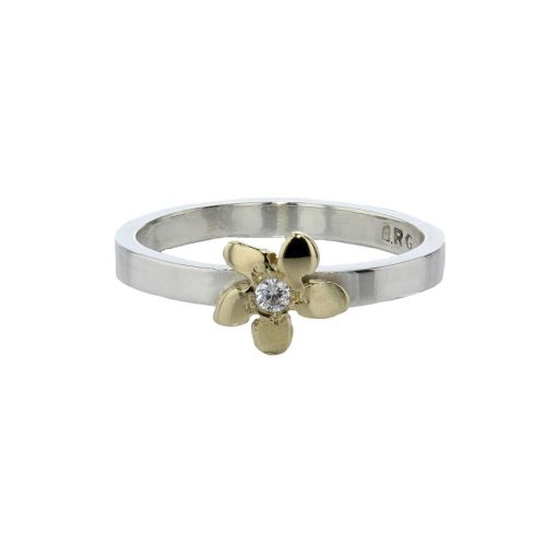 Burren Collection Sterling Silver Burren Flower Ring with 9ct Gold Flower and CZ