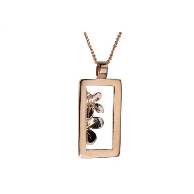 Burren Collection 9ct. Rose Gold Burren Flower Rectangle Pendant