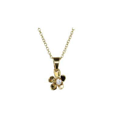Burren Collection 9ct Yellow Gold Small Burren Flower Pendant with CZ