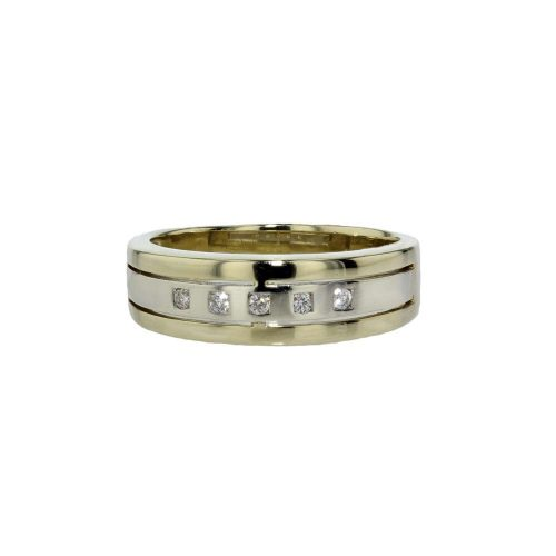 Dress Rings 9ct Yellow and White Gold Ring with Diamonds