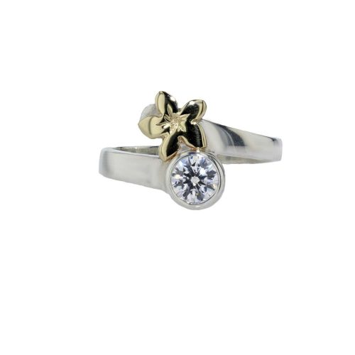 Burren Collection Sterling Silver Ring with 9ct Yellow Gold Burren Flower