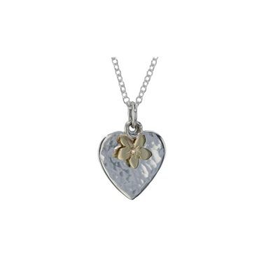 Burren Collection Hammered Silver Heart Pendant with Yellow Gold Flower