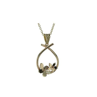 Burren Collection Pear Shaped 9ct Gold Pendant with 2 Yellow Gold Burren Flowers