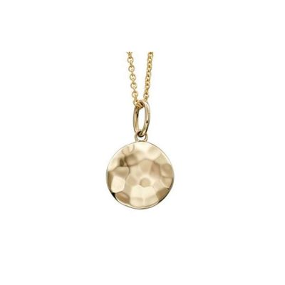 Gold Pendants 9ct Yellow Gold Hammered Disc