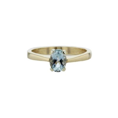 Dress Rings 9ct. Yellow Gold Ring with Aquamarine