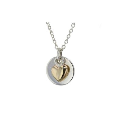 Jewellery Sterling Silver Polished Pendant with 9ct Gold Heart
