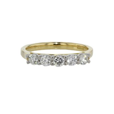 Dress Rings 18ct Yellow Gold Eternity Ring set with 5 Diamonds
