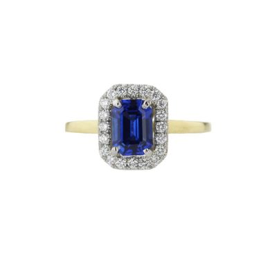 Diamond Rings Emerald Cut Sapphire and Diamond Ring in 18ct Yellow Gold