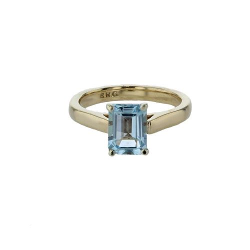 Dress Rings 9ct Yellow Gold Emerald Cut Ice Blue Topaz Ring