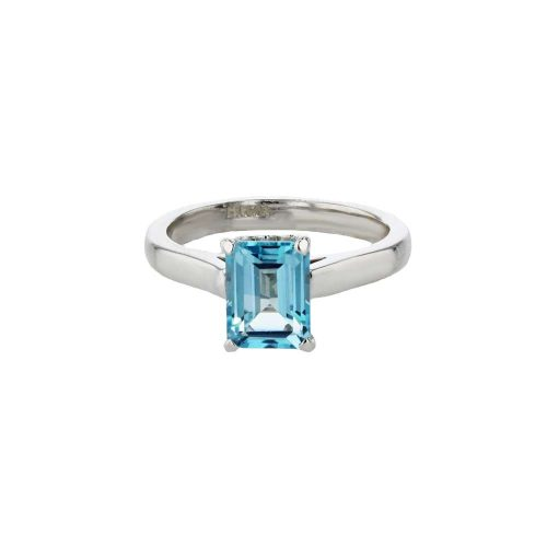 Dress Rings 9ct White Gold Emerald Cut Sky Blue Topaz Ring