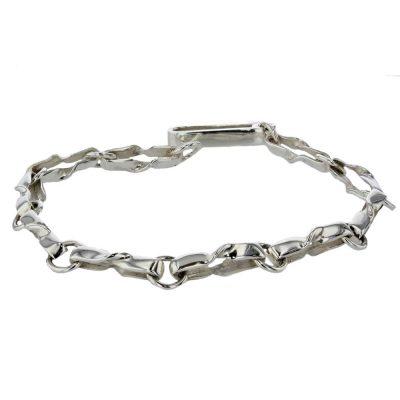Bracelets Handmade Sterling Silver Twist Link Bracelet