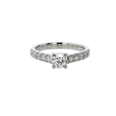 Diamond Rings Platinum Solitaire Ring with Diamond Set Shoulders
