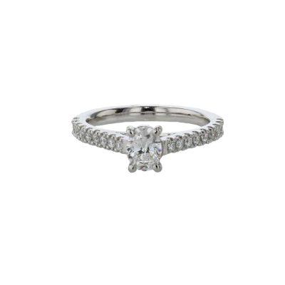 Diamond Rings Oval Diamond Solitaire Ring with Diamond Set Shoulders