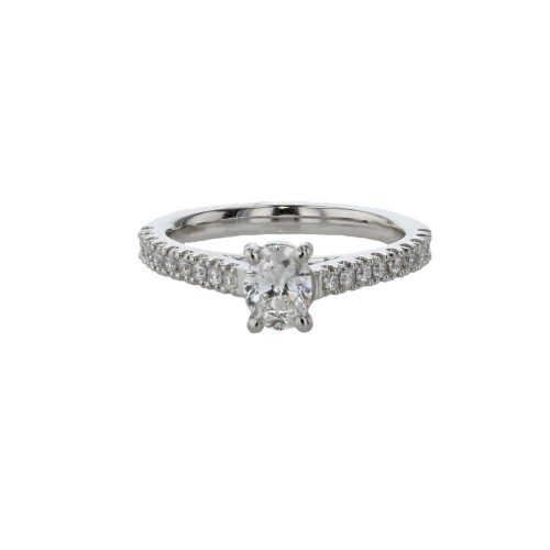 Diamond Rings Oval Diamond Solitaire Ring with Diamond Set Shoulders