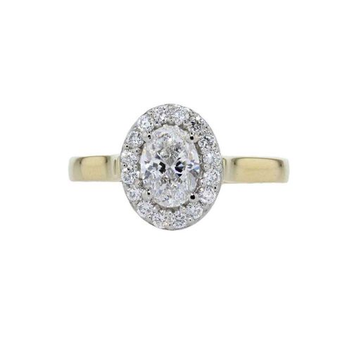 Diamond Rings Oval Diamond Cluster Ring with 18ct Yellow Gold Band