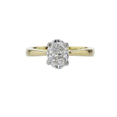 Diamond Rings Oval 1.20ct Diamond Solitaire Ring with 18ct Yellow Gold Band
