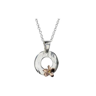 Burren Collection Sterling Silver Hammered Pendant with Rose Gold Flower