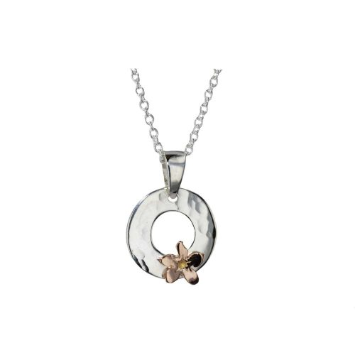 Burren Silver Pendants Sterling Silver Hammered Pendant with Rose Gold Flower