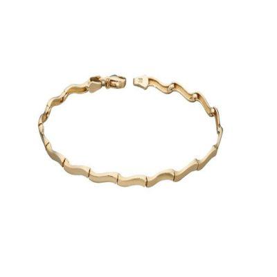 Bracelets 9ct Yellow Gold Wavy Link Bracelet