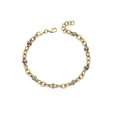Bracelets Multi Gold Link Bracelet in 9ct White and Yellow Gold
