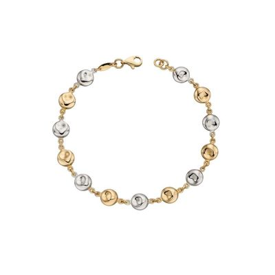 Bracelets 9ct Yellow and White Gold Disc Bracelet