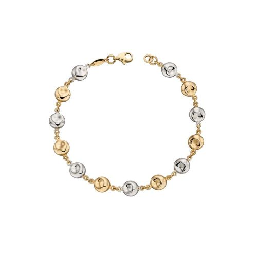 Jewellery 9ct Yellow and White Gold Disc Bracelet