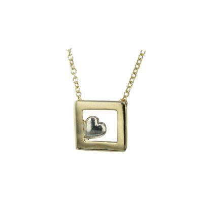Gold Pendants 9ct Solid Gold Frame with White Gold Heart