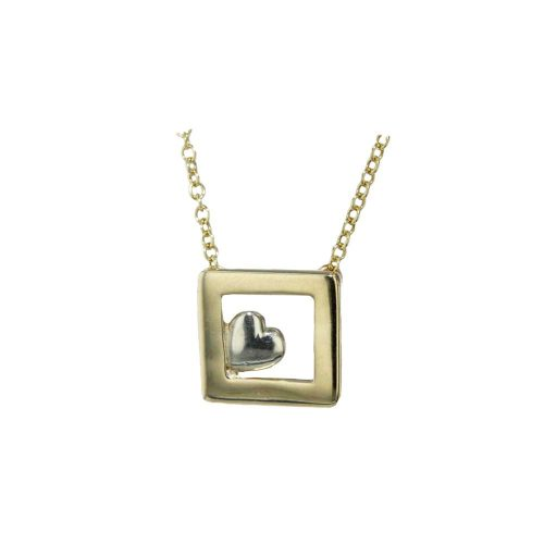Jewellery 9ct Solid Gold Frame with White Gold Heart