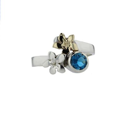 Burren Collection Sterling Silver Ring with 9ct Yellow Gold & Silver Burren Flower