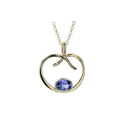 Jewellery Heart Shaped Tanzanite Pendant in 9ct Gold