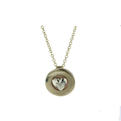 Gold Pendants 9ct. Yellow Gold Pendant with White Gold Heart