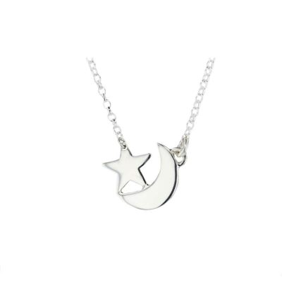 Jewellery Handmade Star and Moon Pendant in Sterling Silver