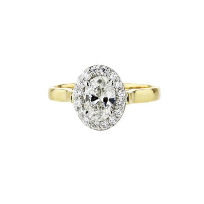 0.70ct Oval Diamond Cluster Ring with 18ct Yellow Gold Band