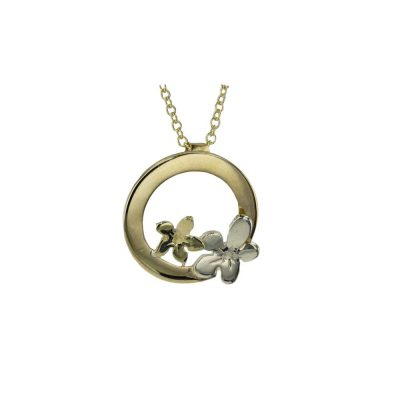 Burren Collection 9ct Yellow Gold Pendant with White and Gold Burren Flowers