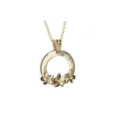 Burren Collection 9ct Gold Pendant with 3 9ct Gold Burren Flowers