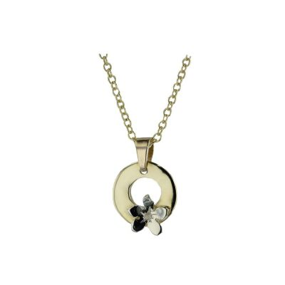 Burren Collection Hammered 9ct Gold Burren Pendant with 9ct White Gold Flower