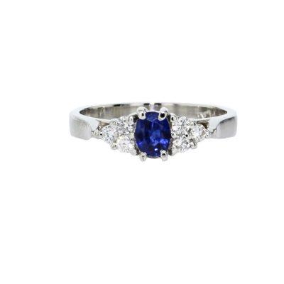 Diamond Rings Oval Sapphire and Diamond Platinum Ring