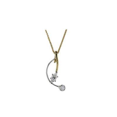Gold Pendants 18ct. Yellow Gold Marquise & Bezel set Diamond Pendant