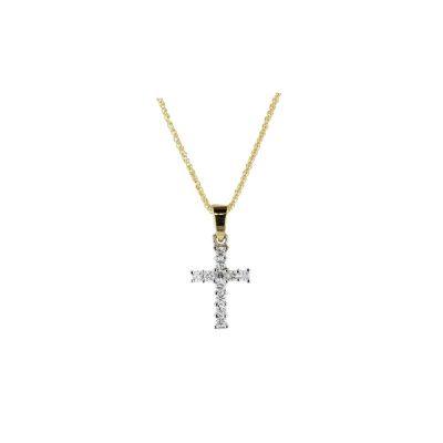 Gold Pendants Handmade Diamond Cross, 18ct Yellow Gold