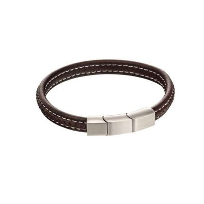 Gents Jewellery Plaited Bracelet with Mixed Brushed Finish in Brown Leather