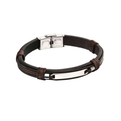 Gents Jewellery Brown & Black Woven Leather ID Bracelet