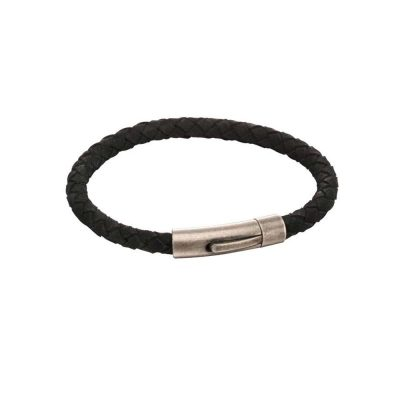 Gents Jewellery Black Recycled Leather with Stainless Steel Brushed Clasp