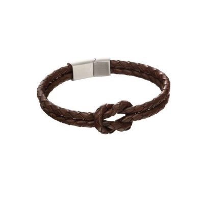 Gents Jewellery Brown Plaited Bracelet with Magnetic Clasp