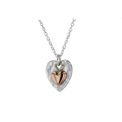 Jewellery Hammered Silver Heart Pendant with Rose Gold Heart