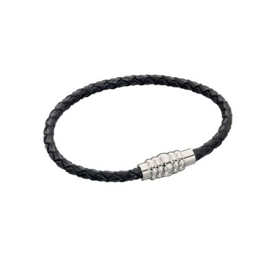 Gents Jewellery Black Plaited Bracelet with Magnetic Clasp